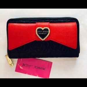 Betsey Johnson Black/Red Floral Large Bow Wallet